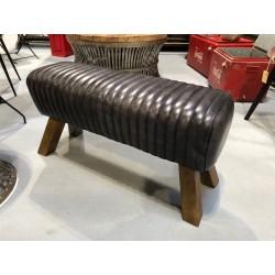 Black Leather Bench Pommel Horse Style - Wooden Feet - Length 87cm