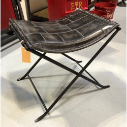 Iron Folding Stool with Genuine Leather Seat
