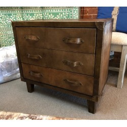 Leather Chest of 3 Drawers