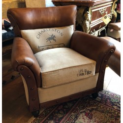 Vintage Style Armchair - Leather & Canvas Polo Design