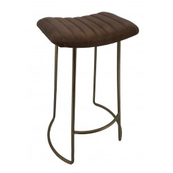 Leather Barstool with Wooden Legs