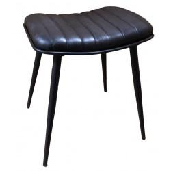 Iron Stool with Genuine Black Leather Seat