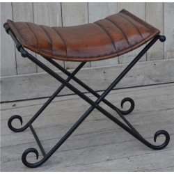 Iron Folding Stool with Genuine Leather Seat