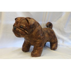 "Large Leather Pug Dog Footstool 16"" x 14"""