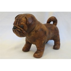 "Leather Standing Pug Dog 6"" x 9"""