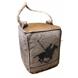 Polo Horse Design Leather & Canvas Doorstop