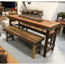 Vintage Wooden Table & 2 Benches