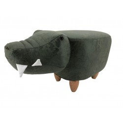 Faux Leather / Suede Crocodile Footstool - Green