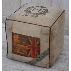 Leather Edged Canvas Union Jack Print Cubed Pouffe / Footstool