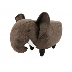 Faux Leather / Suede Elephant Footstool - Dark Brown