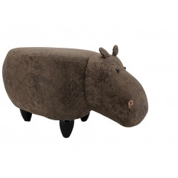 Faux Leather / Suede Hippo Footstool - Dark Brown