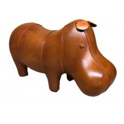 Large Handmade Leather Hippo Footstool