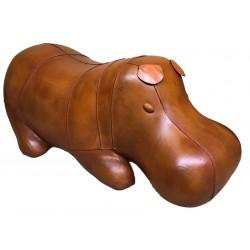 Large Handmade Leather Sleeping Hippo Footstool