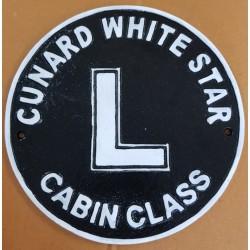 Cast Iron Cunard Cabin Class Wall Plaque