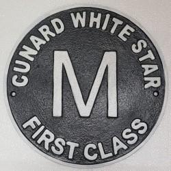 Cast Iron Cunard First Class Wall Plaque