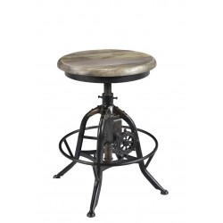 Industrial Adjustable Iron Stool with Wooden Seat