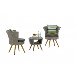 Outdoor Coffee Table and 2 Swivel Chairs Set