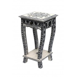 Bone Inlay Side Table with One Drawer