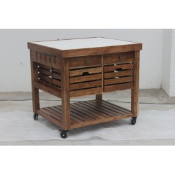 Wooden Kitchen Island with Marble Top - Acacia Wood