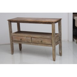 Console Table 2 Drawers in Natural Honey Finish