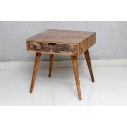 Side Table with Copper Veneer Drawer Front
