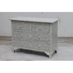 Bone Inlaid Grey 4 Drawer Chest