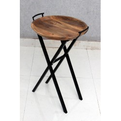 Wooden End Table with Tray