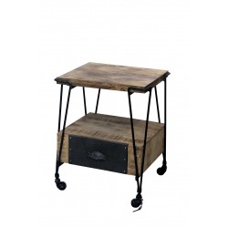 Black Smiths End Table with 1 Drawer