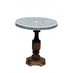Bone Inlaid Round Table with Wooden Base