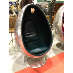 Aviation Aviator Aluminium Blue Leather Egg Chair