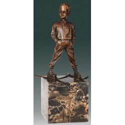 Art Deco Style Bronze Boy on Skis