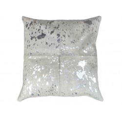 White/Silver Cowhide Leather Cushion