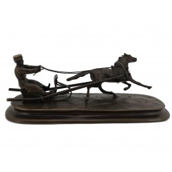 Bronze Russian Man in a sleigh being pulled by a Horse