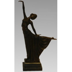 Bronze Art Deco style sculpture lady dancer
