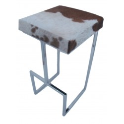 Tall Tan/White Cowhide & Stainless Steel Stool