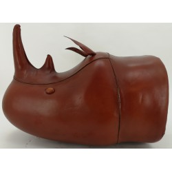 Large Handmade Leather Rhino head