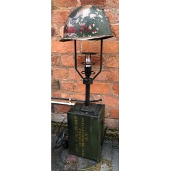 Vintage up-cycled Military Lamp - Helmet and Ammo box