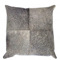 Grey Cowhide Leather Cushion
