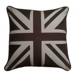 Union Jack Cowhide Leather and canvas luxury cushion