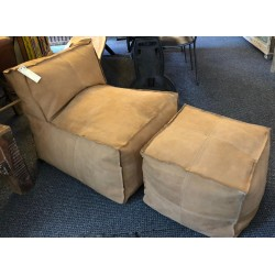Brown Leather bean bag chair and footstool