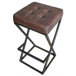 Leather bar stool with metal cross frame legs - Brown