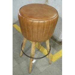 Wooden Leg bar stool - Brown Leather