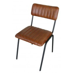 Ribbed Leather dining chair - Brown