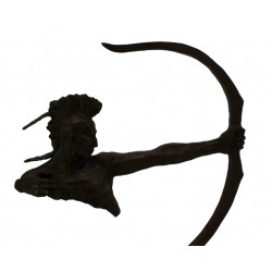 Bronze Sculpture of a Huron American Indian with Bow