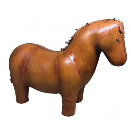 Large Handmade Leather Horse Footstool
