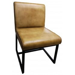 Genuine Leather padded dining chair - Brown