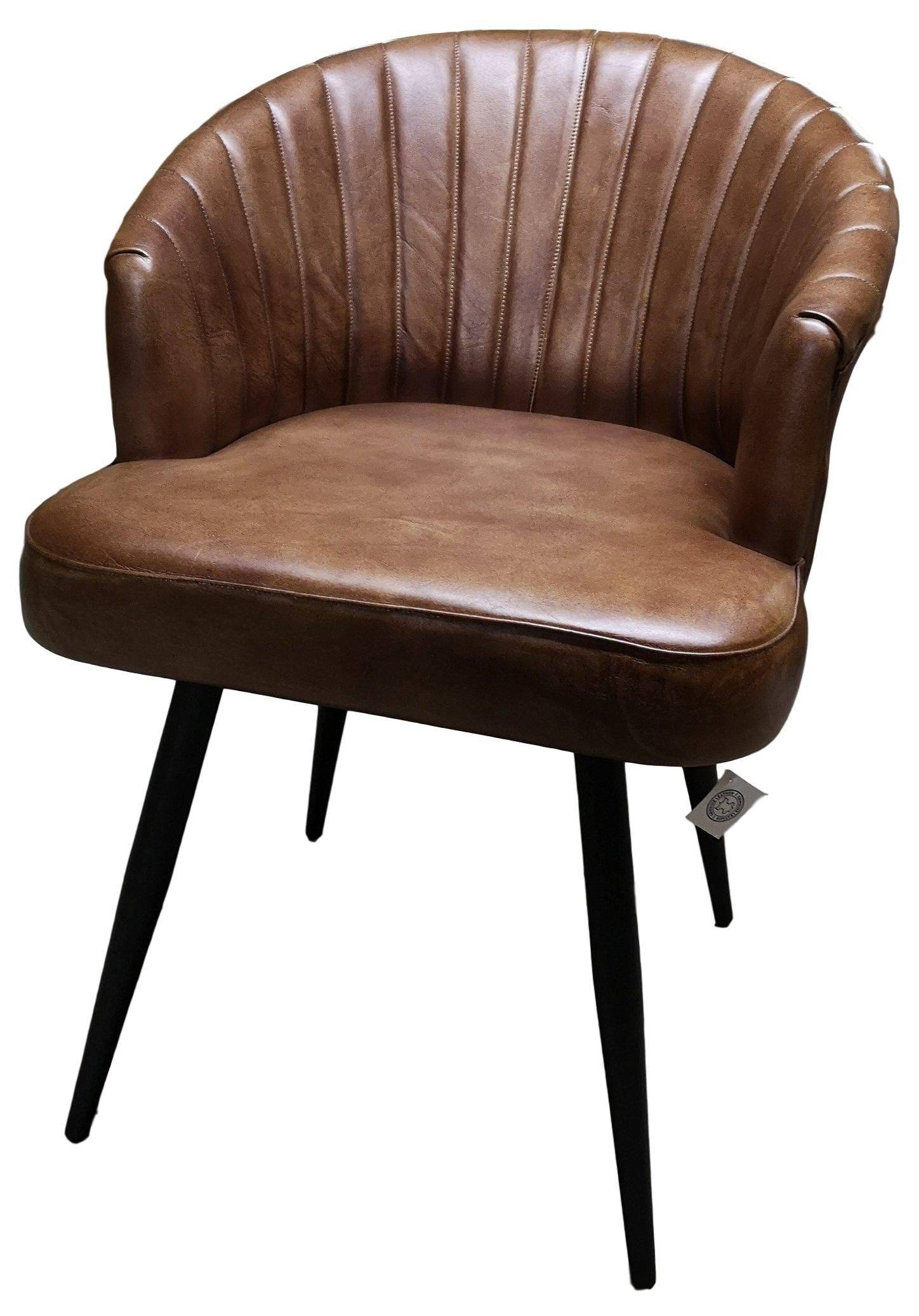 Genuine Brown Cowhide Leather Bucket Style Seat Dining Chair