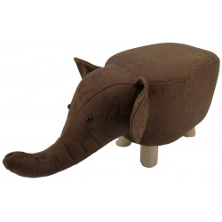 Brown Elephant faux Leather stool / footstool with wooden legs