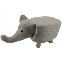 Light Grey Elephant faux Leather stool / footstool with wooden legs