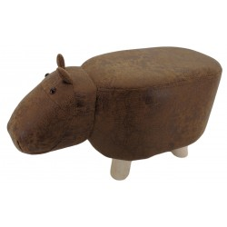 Brown Hippo faux Leather stool / footstool with wooden legs